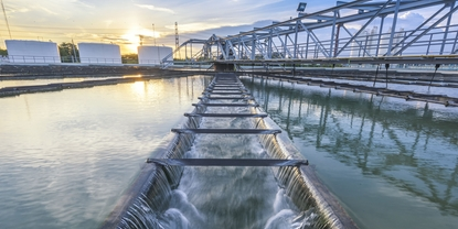 Picture of an outflow from a clarifier in a wastewater treatment plant